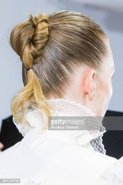 A model Hair detail is seen backstage ahead of the Philosophy Di Lorenzo Serafini show during Milan Fashion Week Fall/Winter 2018/19 on February 24...
