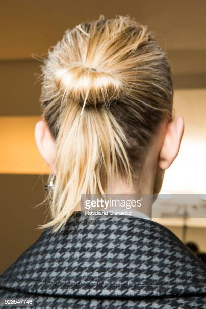 A model hair detail is seen backstage ahead of the Sportmax show during Milan Fashion Week Fall/Winter 2018/19 on February 23 2018 in Milan Italy
