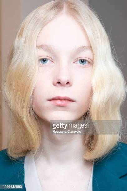 A model hair detail is seen backstage at the Marco De Vincenzo fashion show on January 14 2020 in Milan Italy