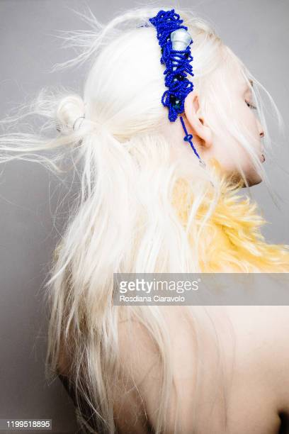 A model hair detail is seen backstage at the Miaoran fashion show on January 13 2020 in Milan Italy