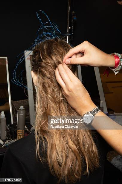 Model, hair detail, is seen during the backstage for Tiziano Guardini fashion show during the Milan Fashion Week Spring/Summer 2020 on September 18,...
