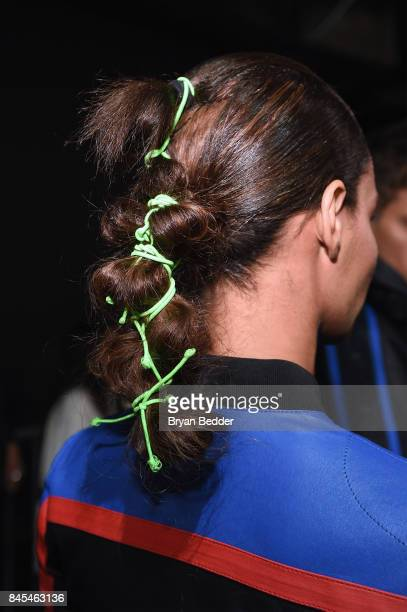 A model hair detail poses backstage at the FENTY PUMA by Rihanna Spring/Summer 2018 Collection at Park Avenue Armory on September 10 2017 in New York...