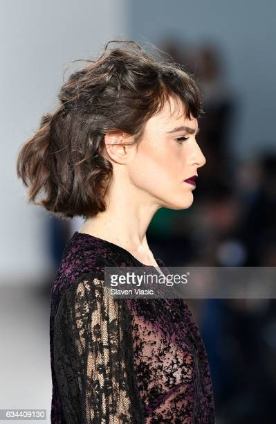 A model hair detail walks the runway at Ane Amour fashion show during February 2017 New York Fashion Week at Pier 59 on February 9 2017 in New York...