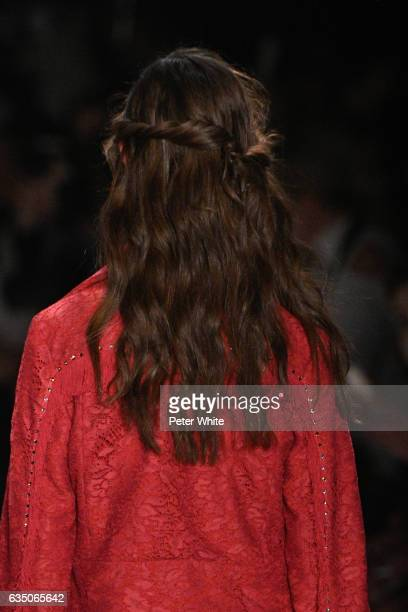 A model hair detail walks the runway at Jenny Packham fashion show during New York Fashion Week Fall Winter 20172018 at Gallery 3 Skylight Clarkson...
