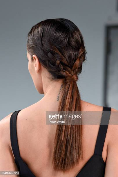 A model hair detail walks the runway at the Christian Siriano fashion show during New York Fashion Week The Shows at Pier 59 on September 9 2017 in...
