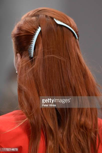 Model, hair detail, walks the runway at the Tory Burch Ready to Wear Spring/Summer 2020 fashion show during New York Fashion Week on September 08,...