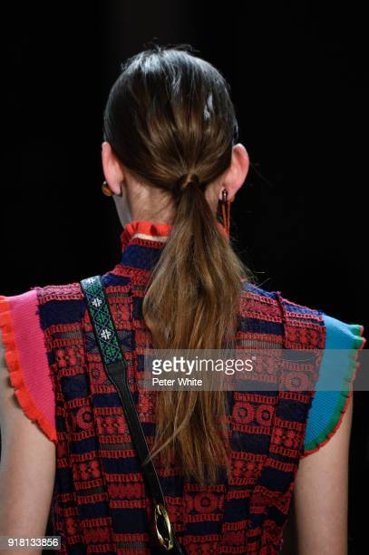 A model hair detail walks the runway at the Vivienne Tam show during New York Fashion Week at Gallery I at Spring Studios on February 13 2018 in New...