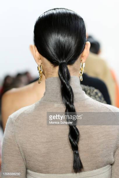 Model, hair detail, walks the runway for Jonathan Simkhai during New York Fashion Week: The Shows at Gallery I at Spring Studios on February 10, 2020...