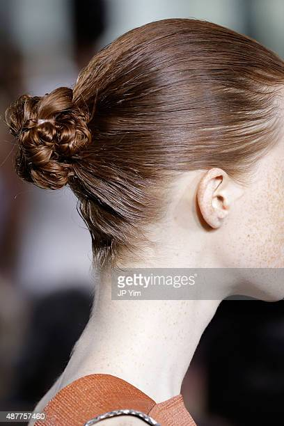 A model hair detail walks the runway with Kerastase Paris at the Jason Wu S/S 2016 fashion show during Spring Studios on September 11 2015 in New...