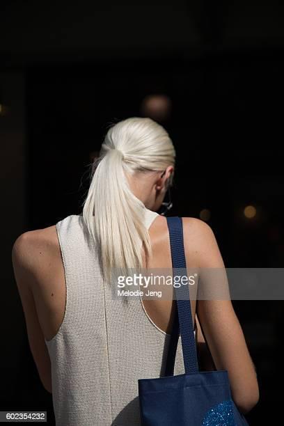 Model hair details outside the Tibi show at Industria Studios on September 10 2016 in New York City