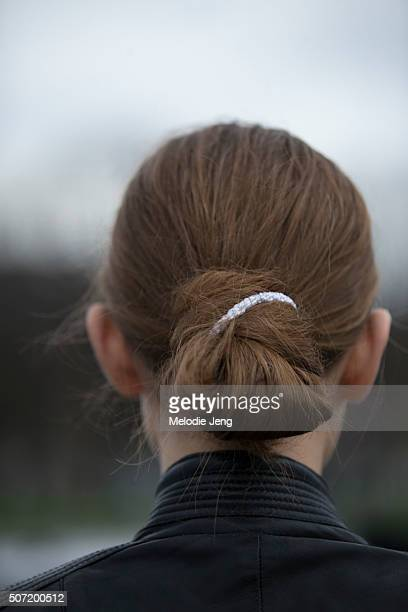 Model hair spotted at the Margiela Couture show at Htel des Invalides on January 27 2016 in Paris France
