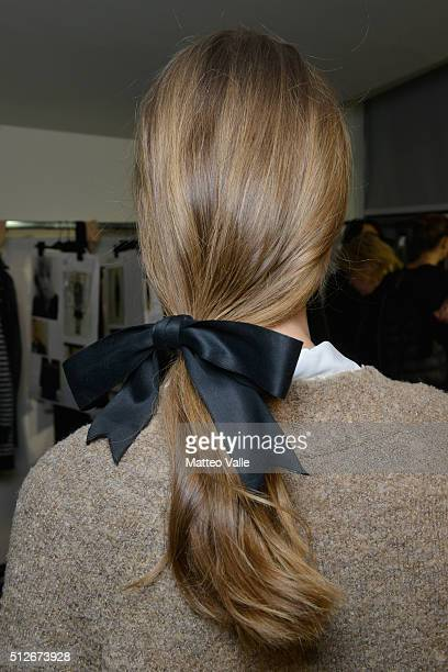 A model haircut detail is seen backstage ahead of the Philosophy di Lorenzo Serafini show during Milan Fashion Week Fall/Winter 2016/17 on February...