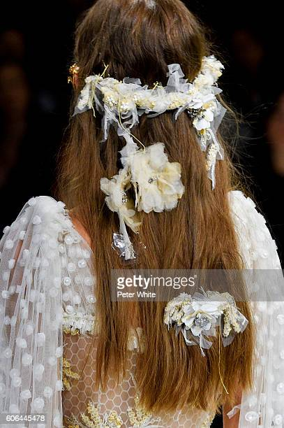 A model hairstyle detail walks the runway at Rodarte Women's Fashion Show during New York Fashion Week on September 13 2016 in New York City