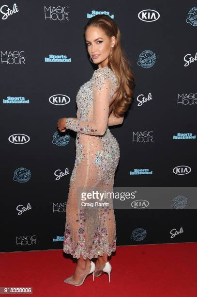 Model Haley Kalil attends Sports Illustrated Swimsuit 2018 Launch Event at Magic Hour at Moxy Times Square on February 14 2018 in New York City