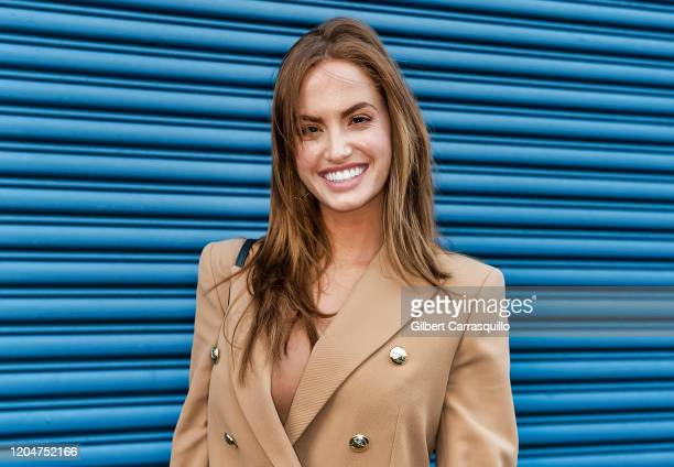 Model Haley Kalil is seen arriving to the Pamella Roland fashion show during New York Fashion Week at Pier 59 Studios on February 07 2020 in New York...