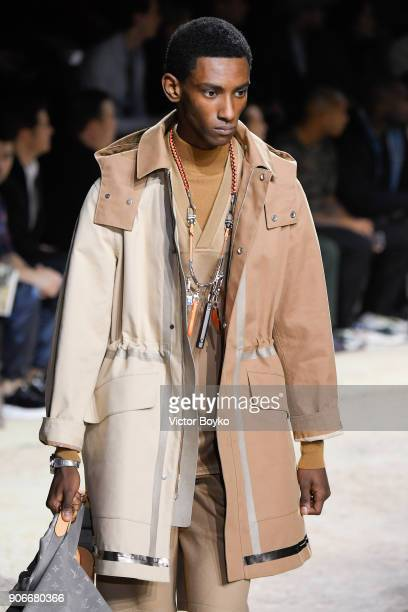 A model halflength walks the runway during the Louis Vuitton Menswear Fall/Winter 20182019 show as part of Paris Fashion Week on January 18 2018 in...