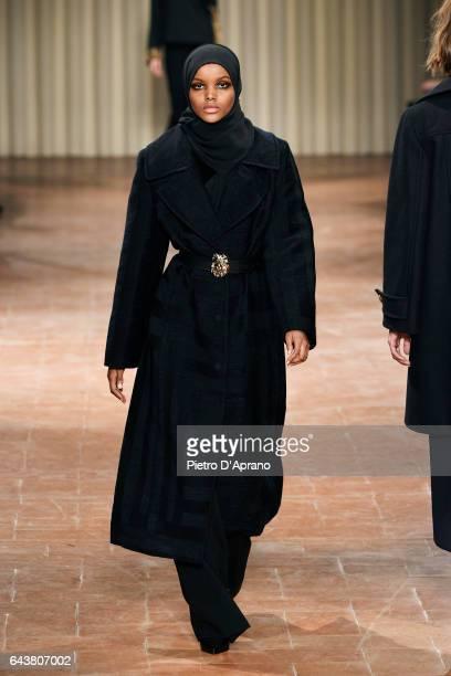 Model Halima Aden walks the runway at the Alberta Ferretti show during Milan Fashion Week Fall/Winter 2017/18 on February 22, 2017 in Milan, Italy.