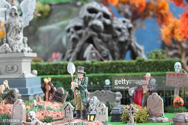 Model Halloween spooky-town / village with graveyard cemetery, gravestones, diorama