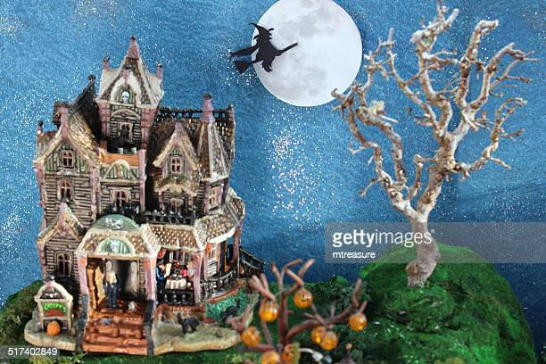 model halloween spooky-town, witches, haunted-house, flying witch, broomstick, full-moon - witch flying on broom stock photos and pictures