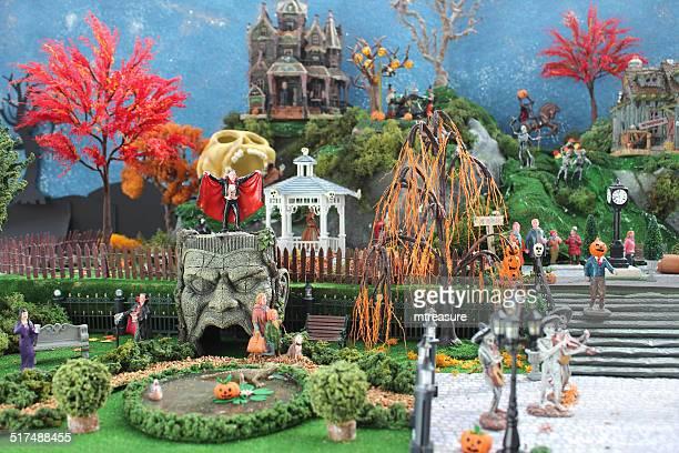 Model Halloween town / village, miniature houses, skeletons, skulls, fall-autumn, pumpkins