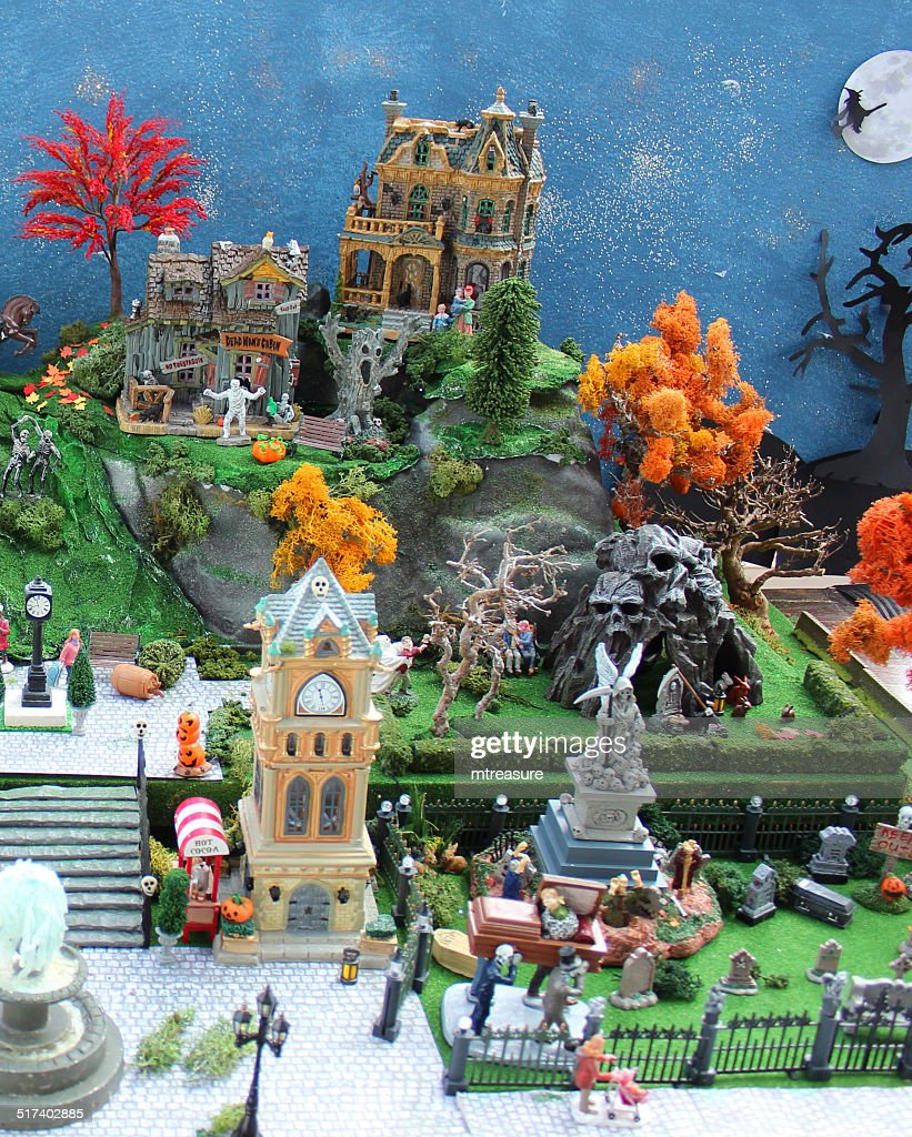 model halloween town village with haunted houses graveyard stock