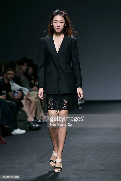 Model Han HyeJin showcases designs on the runway during the 'J Koo' show as part of HERA Seoul Fashion Week S/S 2016 at DDP on October 18 2015 in...