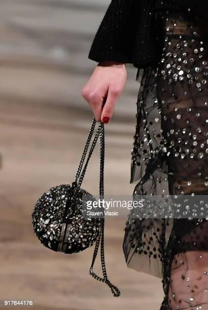 A model handbag detail walks the runway at Oscar De La Renta fashion show during February 2018 New York Fashion Week at The Cunard Building on...