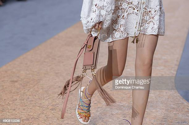 A model handbag detail walks the runway during the Chloe show as part of the Paris Fashion Week Womenswear Spring/Summer 2016 on October 1 2015 in...