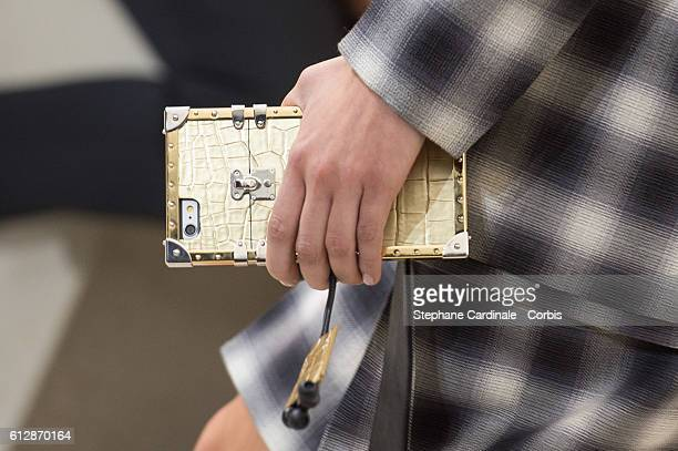 A model Handbag detail walks the runway during the Louis Vuitton show as part of the Paris Fashion Week Womenswear Spring/Summer 2017on October 5...