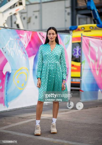 Model Hanna Fridh wearing dress in mint color beige sneakers socks seen during the BreadButter by Zalando at Arena Berlin on September 1 2018 in...