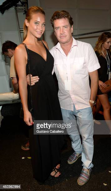 Model Hannah Davis and Wildfox CEO Jimmy Sommers pose backstage at the Wildfox Swim Cruise 2015 show during MercedesBenz Fashion Week Swim 2015 at...