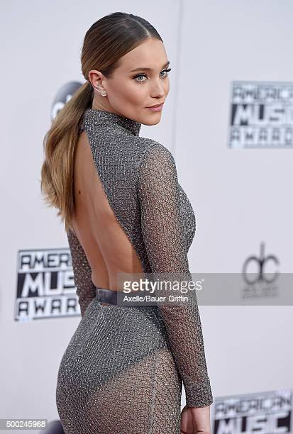 Model Hannah Davis arrives at the 2015 American Music Awards at Microsoft Theater on November 22 2015 in Los Angeles California