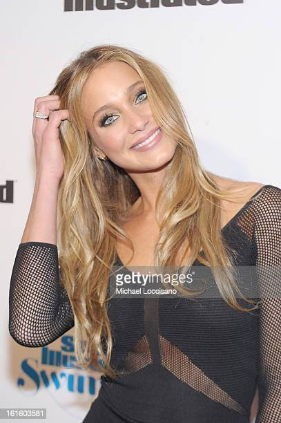 Model Hannah Davis attends as Sports Illustrated celebrates SI Swimsuit 2013 with a starstudded red carpet kickoff event at Crimson on February 12...