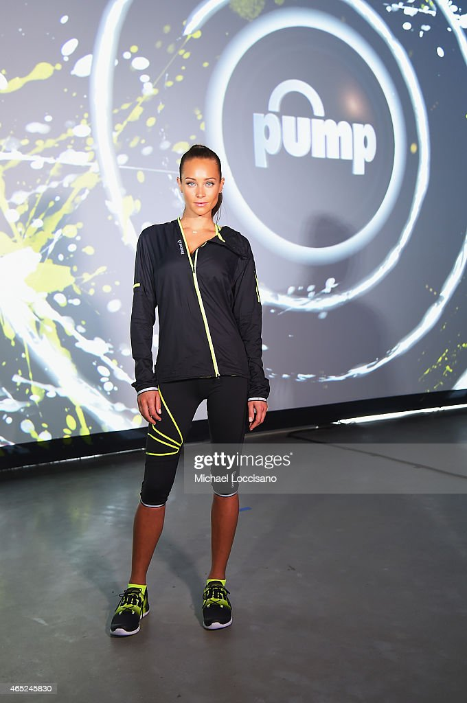 Model Hannah Davis attends Reebok's launch of the revolutionary new ZPump Fusion at Spring Studios on March 4, 2015 in New York City.