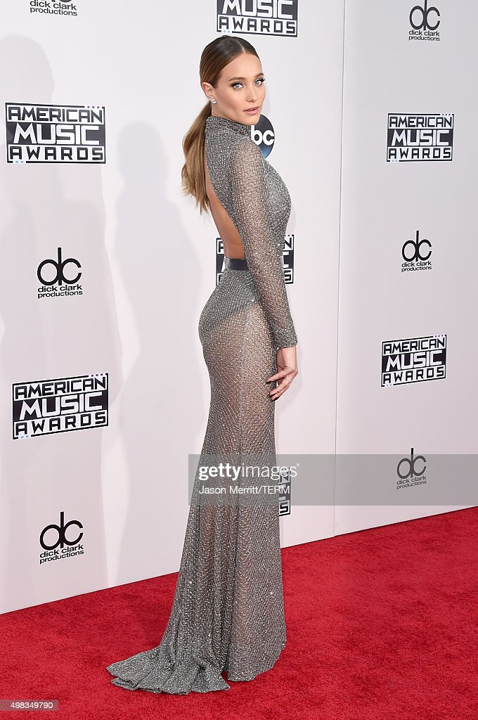 Model Hannah Davis attends the 2015 American Music Awards at Microsoft Theater on November 22, 2015 in Los Angeles, California.