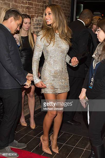 Model Hannah Davis attends the 2015 Sports Illustrated Swimsuit Issue celebration at Marquee on February 10 2015 in New York City