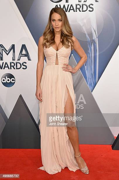 Model Hannah Davis attends the 49th annual CMA Awards at the Bridgestone Arena on November 4 2015 in Nashville Tennessee