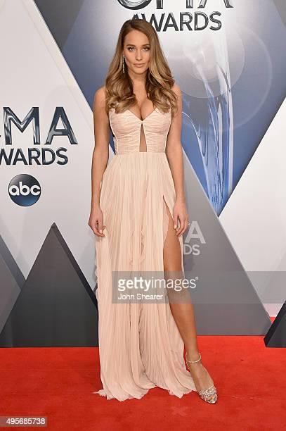 Model Hannah Davis attends the 49th annual CMA Awards at the Bridgestone Arena on November 4, 2015 in Nashville, Tennessee.