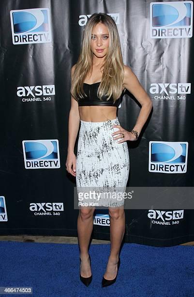 Model Hannah Davis attends the DirecTV Super Saturday Night at Pier 40 on February 1 2014 in New York City