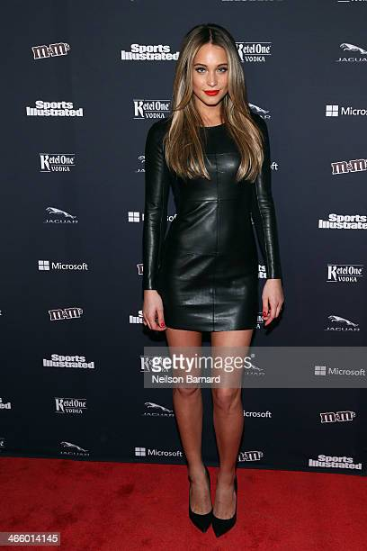 Model Hannah Davis attends the Sports Illustrated MVP Night with Lynn Swann and Jaguar at The Diageo Liquid Cellar on January 30 2014 in New York City