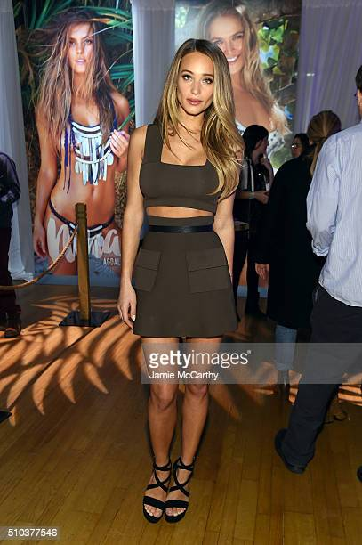 Model Hannah Davis poses at the Sports Illustrated Swimsuit 2016 Swim City at the Altman Building on February 15 2016 in New York City