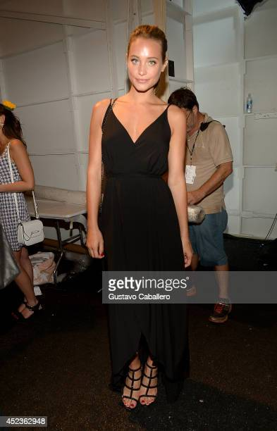 Model Hannah Davis poses backstage at the Wildfox Swim Cruise 2015 show during MercedesBenz Fashion Week Swim 2015 at Cabana Grande at The Raleigh on...