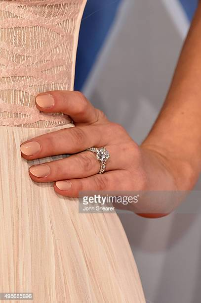 Model Hannah Davis, ring detail, attends the 49th annual CMA Awards at the Bridgestone Arena on November 4, 2015 in Nashville, Tennessee.
