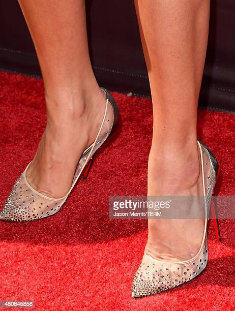 Model Hannah Davis shoe detail attends The 2015 ESPYS at Microsoft Theater on July 15 2015 in Los Angeles California