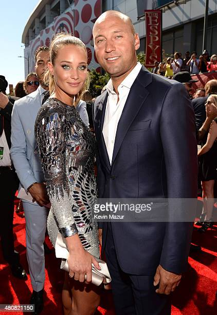 Model Hannah Davis with former MLB player Derek Jeter attend The 2015 ESPYS at Microsoft Theater on July 15 2015 in Los Angeles California