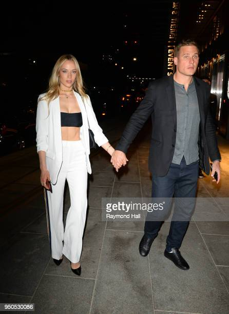 Model Hannah Ferguson is seen arriving at Gigi Hadid's party in Brooklyn on April 23 2018 in New York City