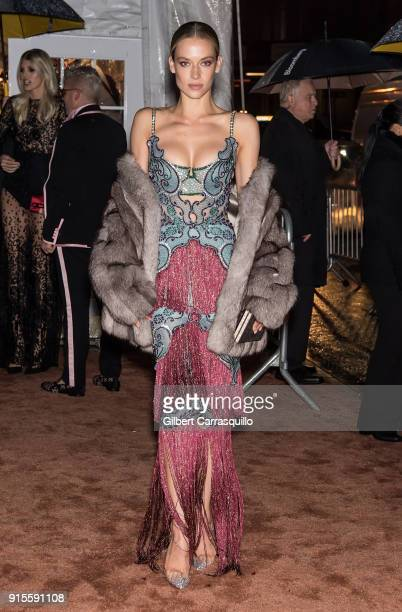 Model Hannah Ferguson is seen arriving to the 2018 amfAR Gala New York at Cipriani Wall Street on February 7 2018 in New York City