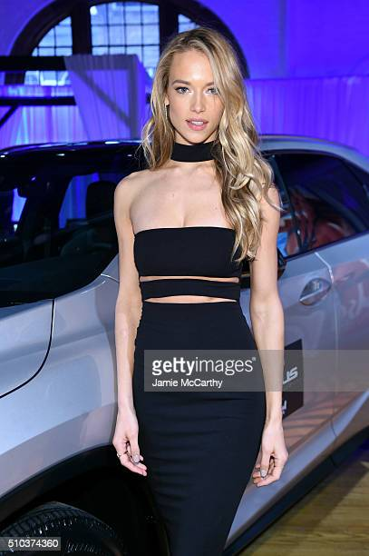 Model Hannah Ferguson poses at the Sports Illustrated Swimsuit 2016 Swim City at the Altman Building on February 15 2016 in New York City