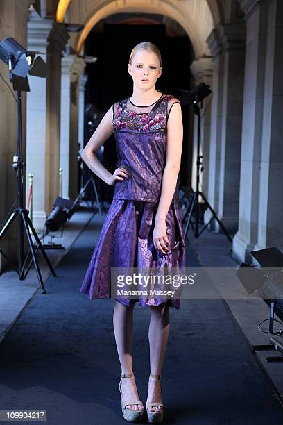 Model Hannah wears a dress by designer Akira during Melbourne's GPO Launches 2011 L'Oreal Melbourne Fashion Festival Program at Melbourne's GPO on...