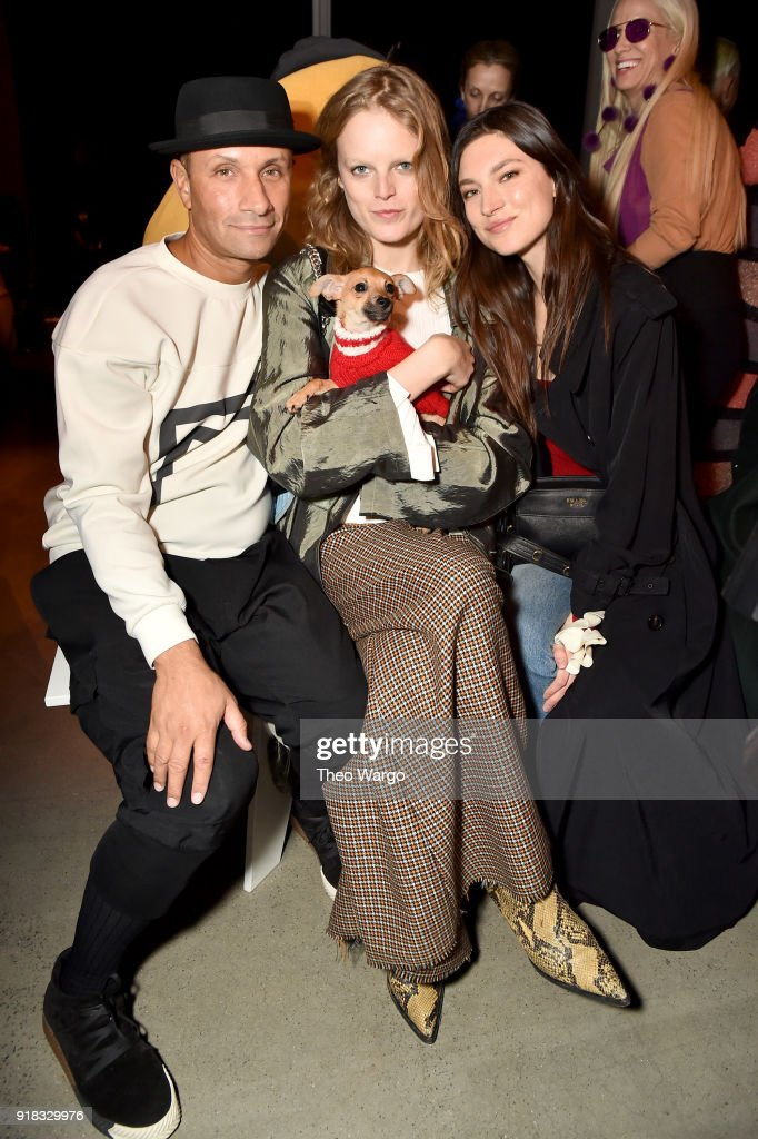 Model Hanne Gaby Odiele (C) and guests attends the Esteban Cortazar front row during New York Fashion Week: The Shows at Gallery I at Spring Studios on February 14, 2018 in New York City.